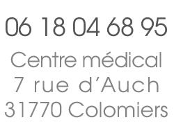 Vidal Isabelle, 7 rue d'Auch 31770 Colomiers. Tél : 06 18 04 68 95.